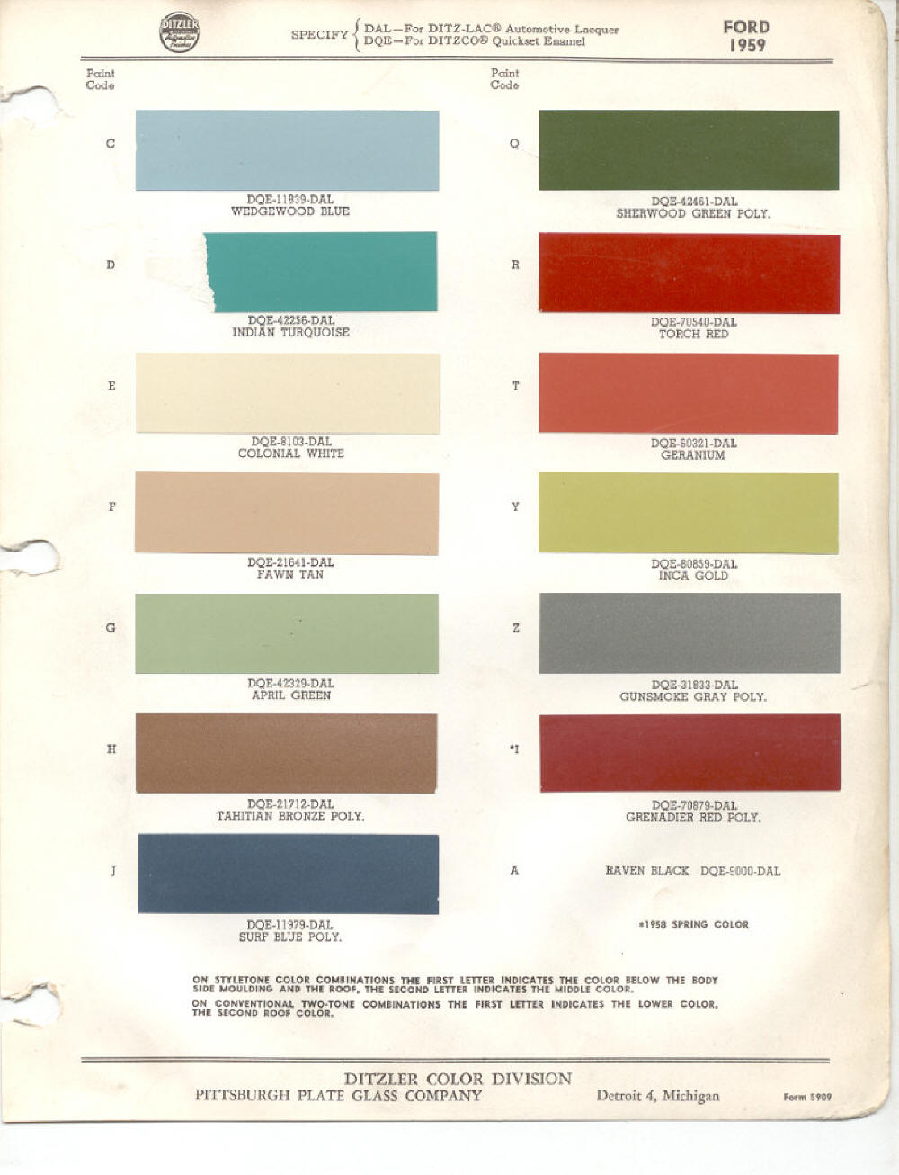 1959 Ford Paint Chips